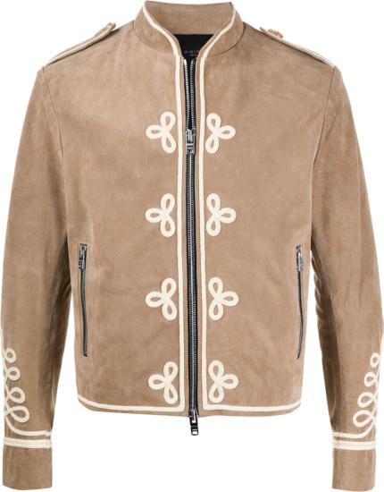 Amiri Beige Suede Military Band Jacket