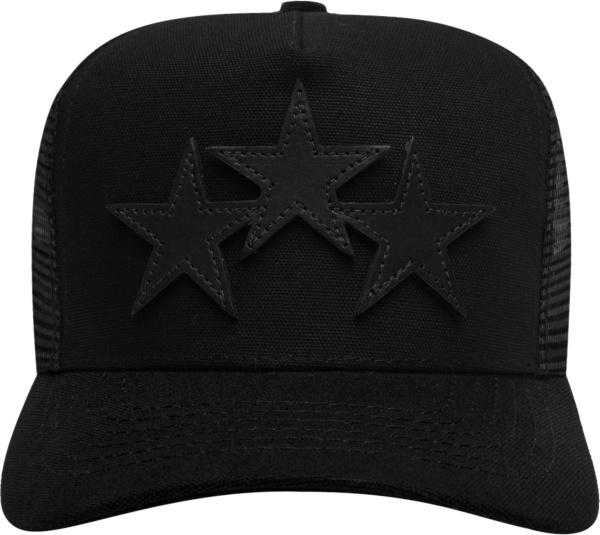 Amiri Black 3 Leather Star Trucker Hat