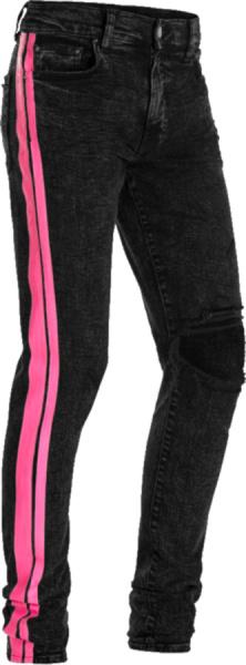 Amiri Black Acid Neon Pink Stripe Jeans