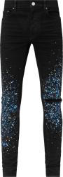 Amiri Black And Blue Paint Splatter Crystal Embellished Jeans