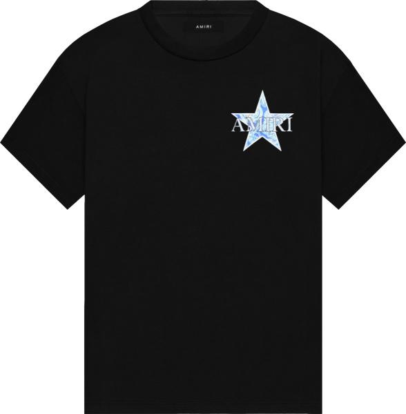 Amiri Black And Blue Paisley Star Logo T Shirt