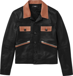 Amiri Black And Brown Leather Jacket