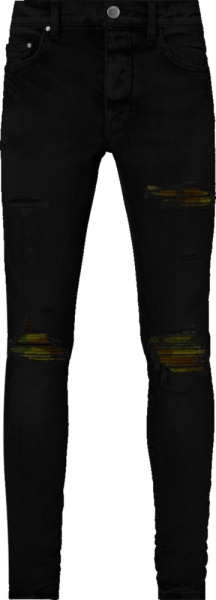 Amiri Black And Camo Underpatch Mx1 Jeans