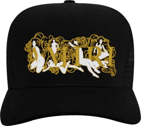 Amiri Black And Gold Female Figure Logo Trucker Hat