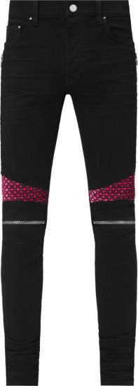 Amiri Black And Pink Velour Mx2 Jeans