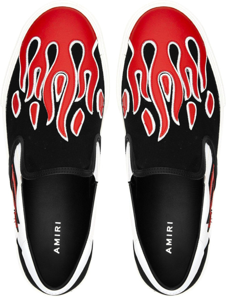 Amiri Black And Red Flame Slip On Sneakers