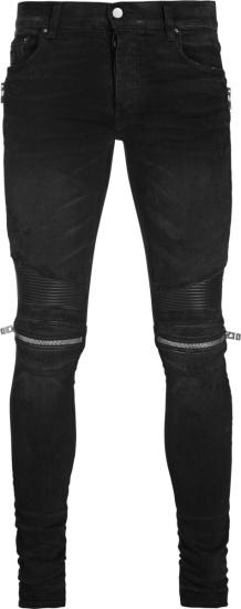 Amiri Black And Ribbed Leather Panel Mx2 Biker Jeans