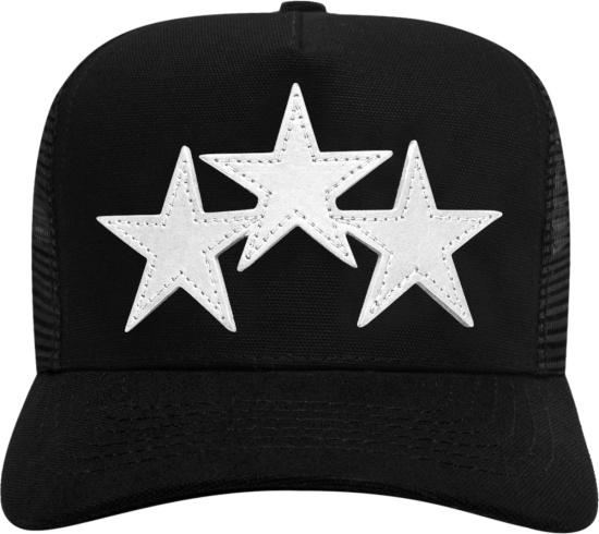 Amiri Black And Three White Leather Star Trucker Hat