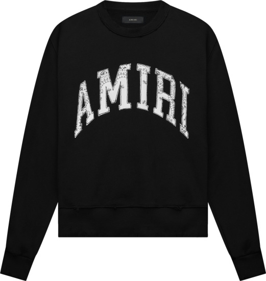 Amiri Black And White Bandana Logo Sweatshirt