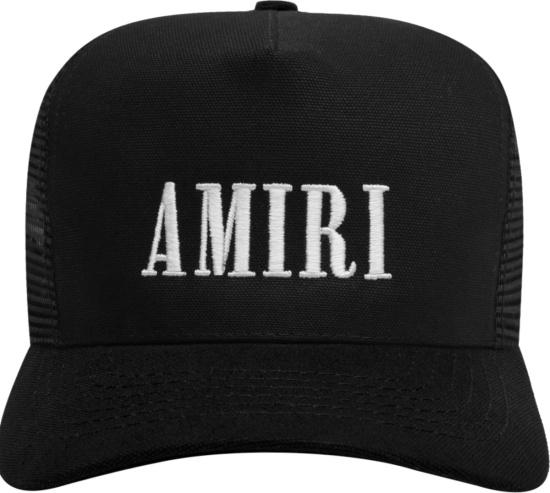 Amiri Black And White Core Logo Trucker Hats