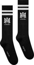 Amiri Black And White Ma Logo Athletic Socks