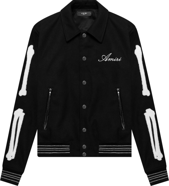 Amiri Black And White Skeleton Teddy Bomber Jacket