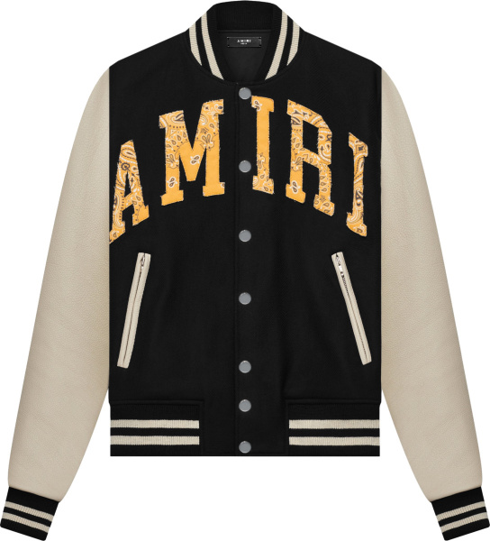 Amiri Black And White Sleeve Yellow Bandana Logo Varsity Jacket
