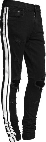 Amiri Black And White Strip Track Jeans