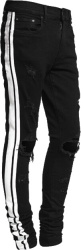 Amiri Black And White Strip Track Jeans