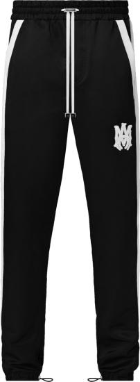 Amiri Black And White Stripe Satin Trackpants