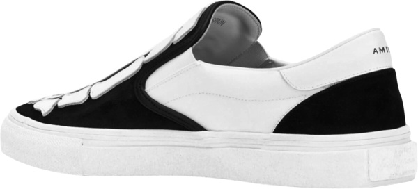 Amiri Black And White Suede Canvas Skeleton Patch Sneakers