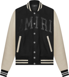 Amiri Black And White Vintage Logo Varsity Jacket