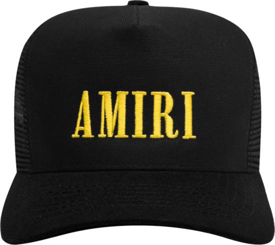 Amiri Black And Yellow Core Logo Trucker Hat