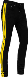 Amiri Black And Yellow Striped Track Jeans