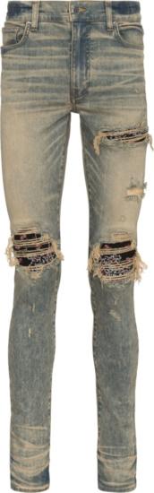 Amiri Black Banada Underpatch Distressed Tinted Jeans