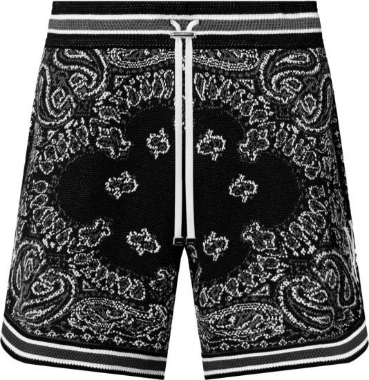 Amiri Black Bandana Crochet Shorts