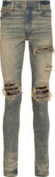Amiri Black Bandana Underpatch Dirty Indigo Mx1 Jeans