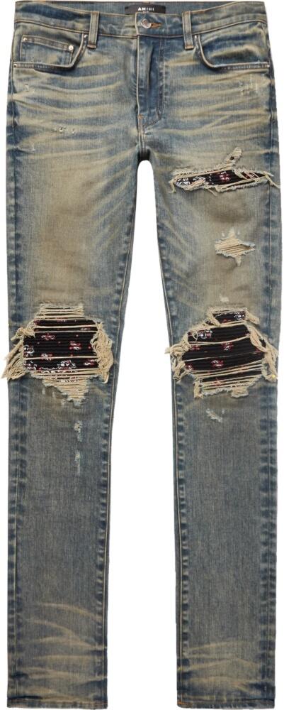 Amiri Black Bandana Underpatch Dirty Indigo Skinny Jeans