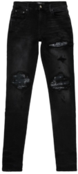 Bandana Underpatch Distressed Black Jeans