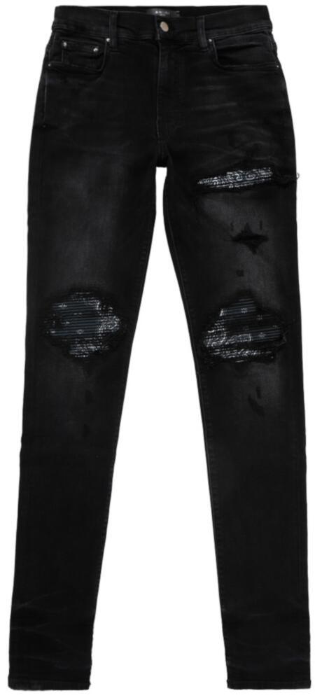 Amiri Black Bandana Underpatch Jeans