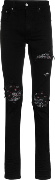 Amiri Black Bandana Underpatch Skinny Jeans
