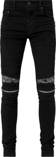 Amiri Black Bandana Zip Detail Biker Jeans