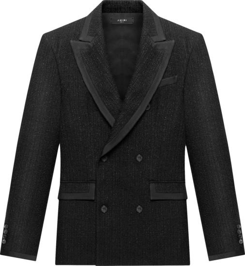 Amiri Black Boucle Double Breasted Jacket