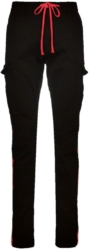 Amiri Black Cargo Pants With Red Side Stripes