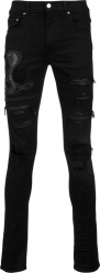 Amiri Black Crocodile Underpatch And Snake Patch Jeans