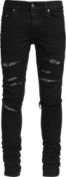 Amiri Black Crystal Underpatch Thrasher Jeans