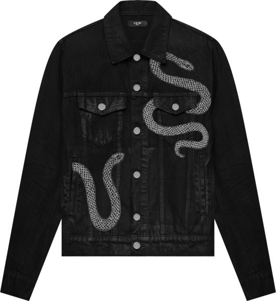 Amiri Black Denim And Snake Embroidered Jacket