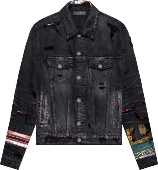 Amiri Black Denim Scarves Patch Trucker Jacket