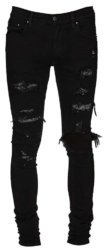 Amiri Black Destroyed Jeans With Crystal Underpatches