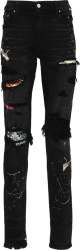 Amiri Black Distressed Art Patch Jeans