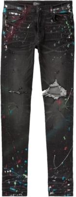 Amiri Black Distressed Jeans With Multicolor Paint Splatter