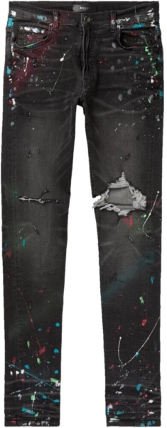 Amiri Black Distressed Jeans With Multicolor Paint Splatter