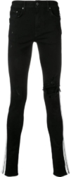 Amiri Black Distressed Jeans With White Side Stripe
