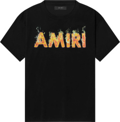 Amiri Black Flame Logo Print T Shirt