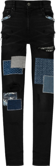 Amiri Black Japanese Patch Repair Jeans