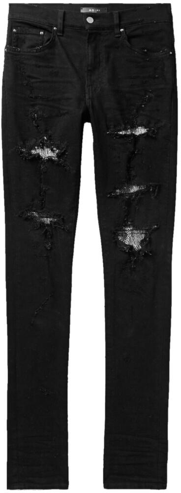 Amiri Black Jeans With Sequin Zebra Underpatches