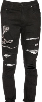 Amiri Black Jeans With White Bandana Underpatches And White Embroidered Snake