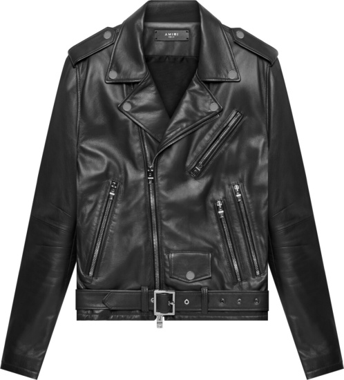 Amiri Black Leather Biker Jacket
