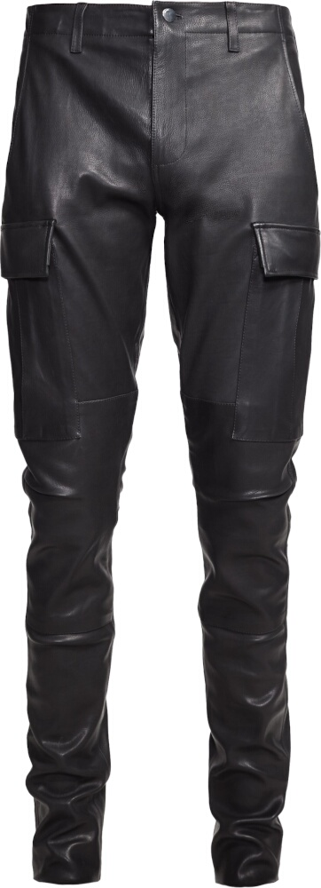 Amiri Black Leather Cargo Pants