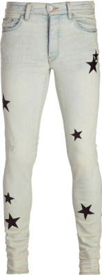 Amiri Black Leather Star Patch Light Jeans